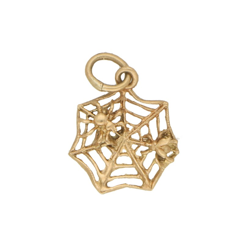 Vintage Spider Web Charm in Yellow Charm