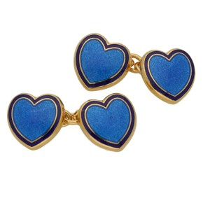 Heart enamel chain link cufflinks in sterling silver