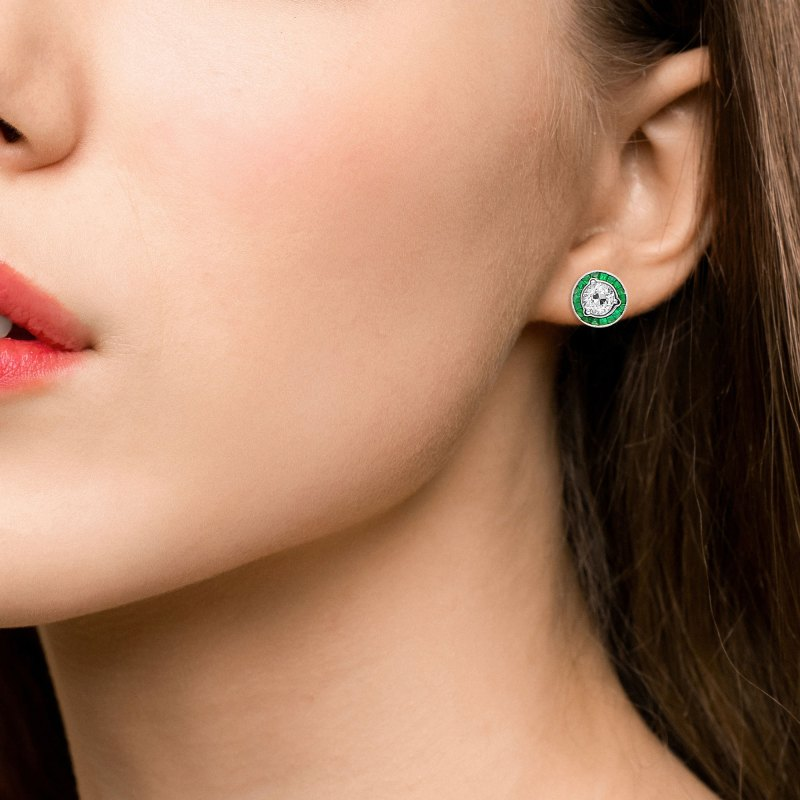 Art Deco Style Emerald and diamond earstuds
