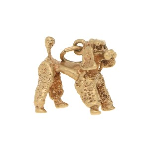 Vintage Poodle Charm in Yellow Gold