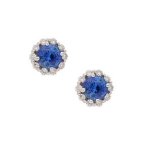 Sapphire and diamond cluster stud earrings in 18k white gold.
