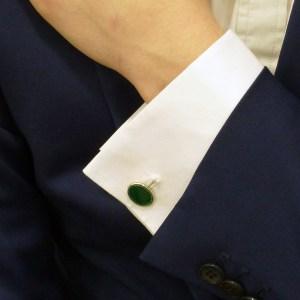 Men's green enamel link cufflinks in sterling silver