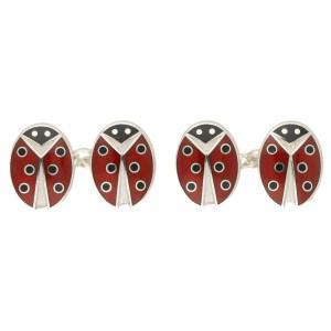 Men's ladybirds enamel link cufflinks sterling silver