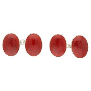 Sterling Silver red enamel link cufflinks