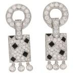Cartier Pelage Earrings in 18ct White Gold, Diamond & Onyx