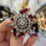 Victorian Diamond Star Brooch in Silver on Gold