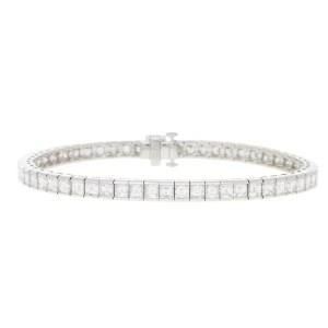 Princess-Cut Diamond Line Bracelet Set in Platinum