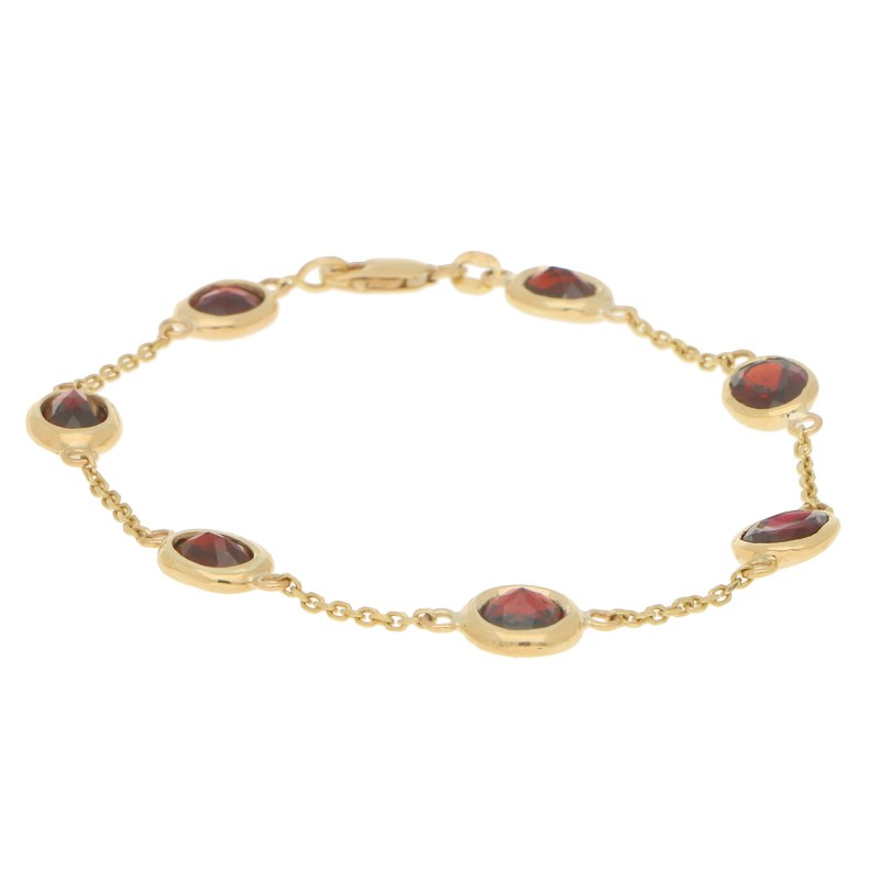 Red Garnet Spectacle Bracelet in 9k Yellow Gold