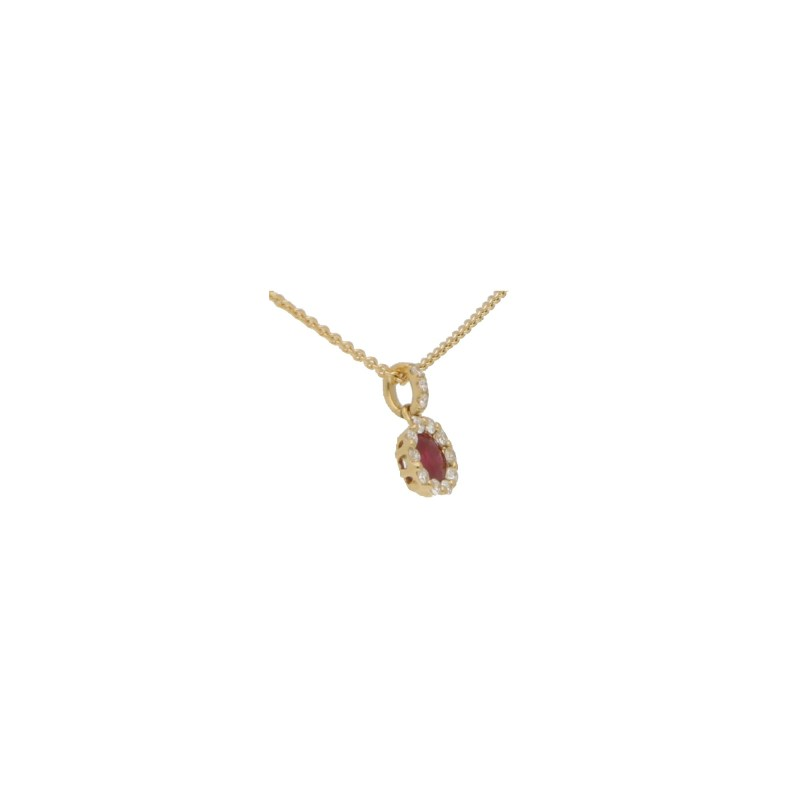 Ruby and Diamond Cluster Pendant in Yellow Gold