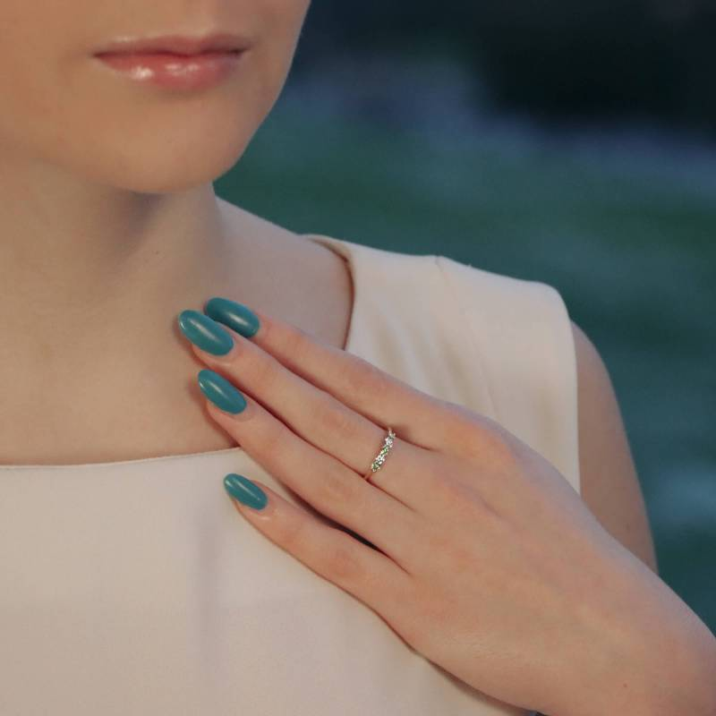 White and Natural Yellow Diamond Half Eternity Ring