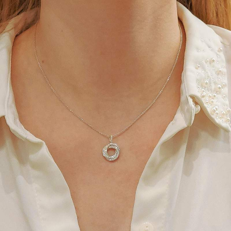 Diamond Trinity Necklace in White Gold