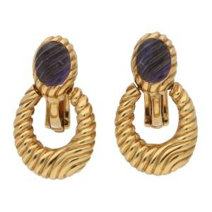 Boucheron Carved Purple Iolite Hoop Drop Earrings