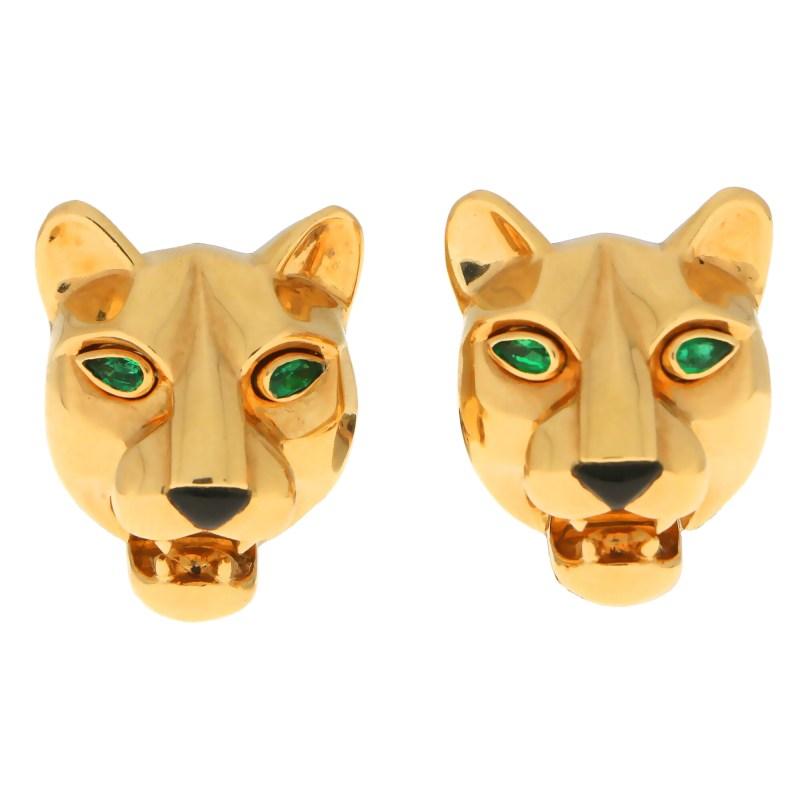 Cartier Emerald Eye Panther Clip Earrings