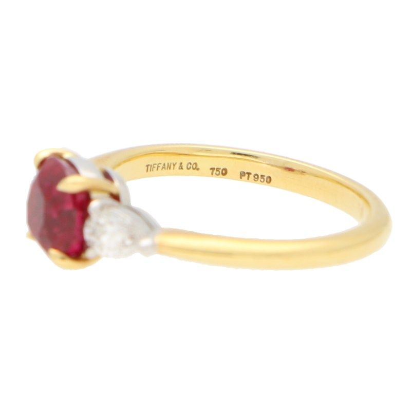 GIA Certified, Tiffany & Co. Burmese Ruby and Diamond Ring