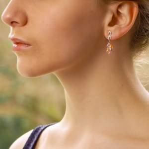 Pastel Rainbow Sapphire and Diamond Drop Earrings