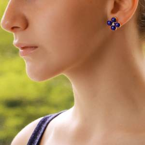 Lapis Lazuli and Diamond Clover Stud Earrings
