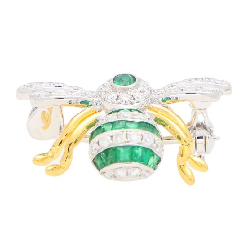 Emerald and Diamond Bee Brooch