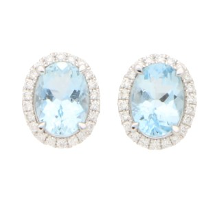Aquamarine and Diamond Halo Stud Earrings