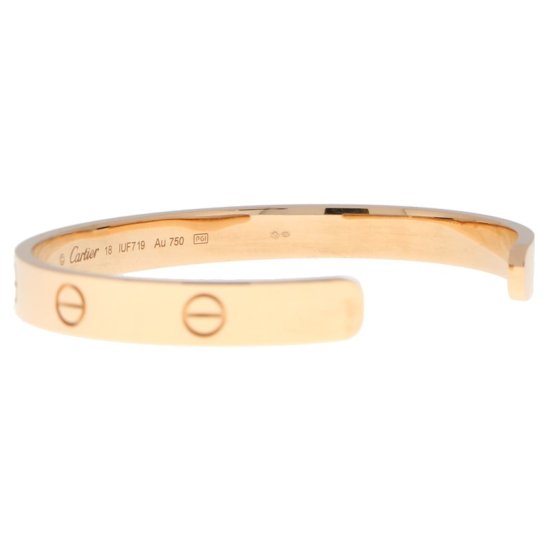 Vintage Cartier LOVE U Bangle in Rose Gold Size 18