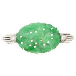 Art Deco Jade and Diamond Brooch Pin