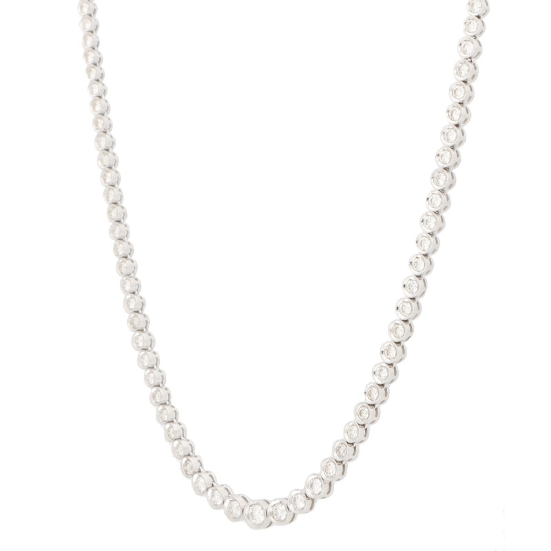 Diamond Riviere Necklace in 18k White Gold