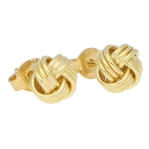 Woven Knot Stud Earrings in Yellow Gold
