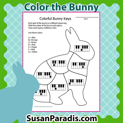 Color piano keys on the bunny