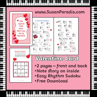 A Valentines card with music activities