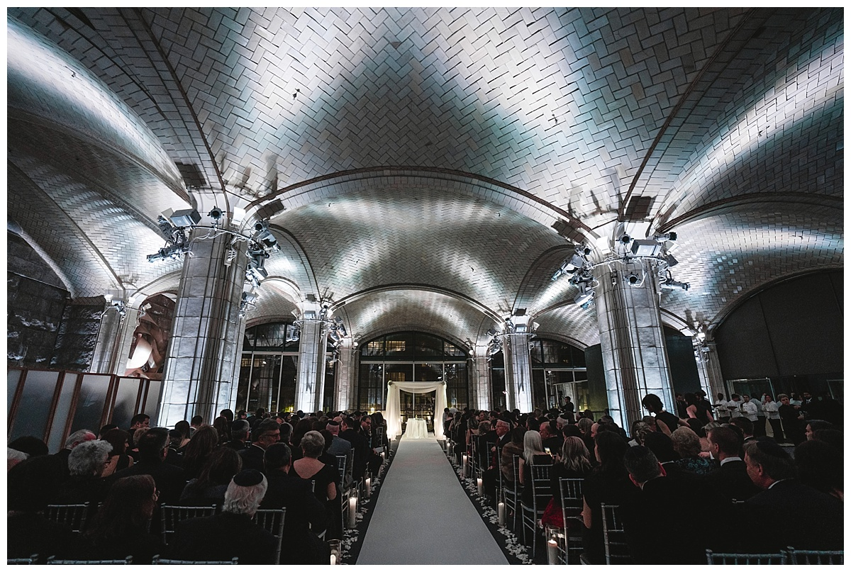 An interior design of a wedding ceremony at Guastavinos in New York City.