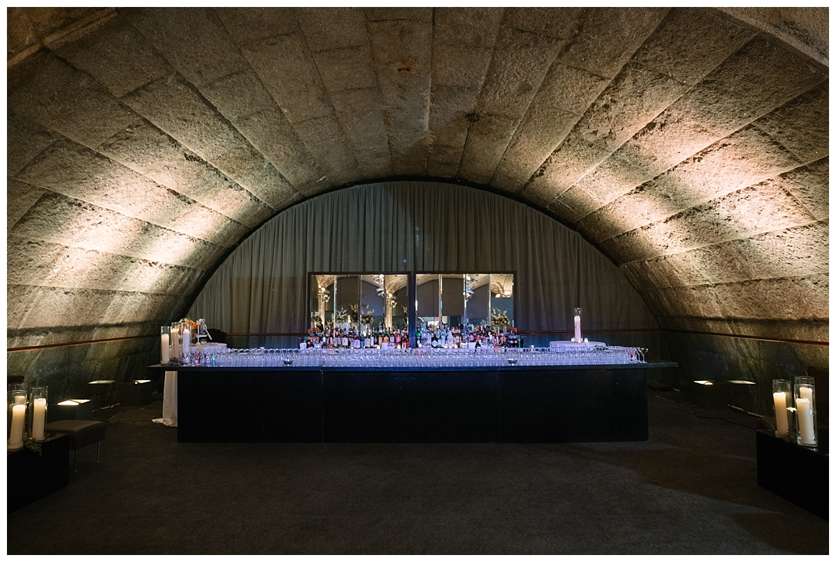 A look of a bar during a wedding reception at Guastavinos in New York City.