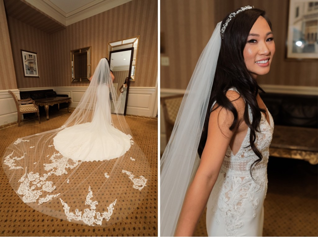 A bride getting ready for her wedding ceremony in Cipriani Wall Street in New York City. Wedding Dress by Pronovias