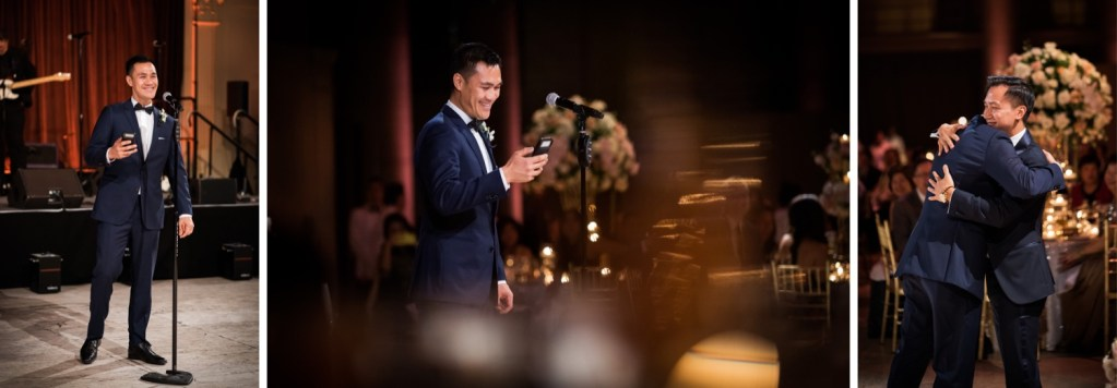 A best man giving his wedding speech to a newly wedded couple during a wedding reception at Cipriani Wall Street in New York CIty.