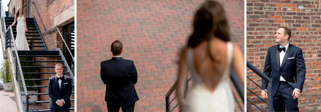 A first look session of a bride and a groom at Liberty Warehouse, Brooklyn New York.