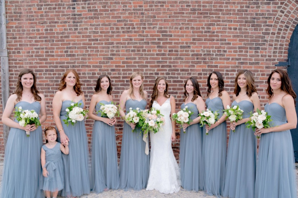 A portrait session of a bride and her bridesmaids parties near Liberty Warehouse, Brooklyn New York.