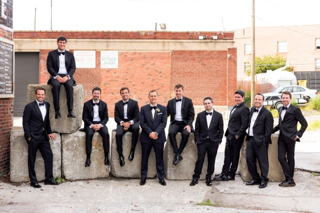 A portrait session of a groom and groomsmen parties near Liberty Warehouse, Brooklyn New York.