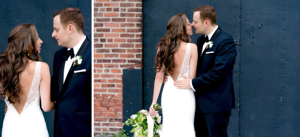 A portrait session of a groom and a bride near Liberty Warehouse, Brooklyn New York.