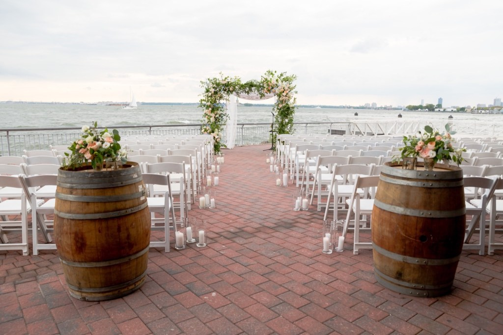 A ceremony setting at Liberty Warehouse, Brooklyn New York.