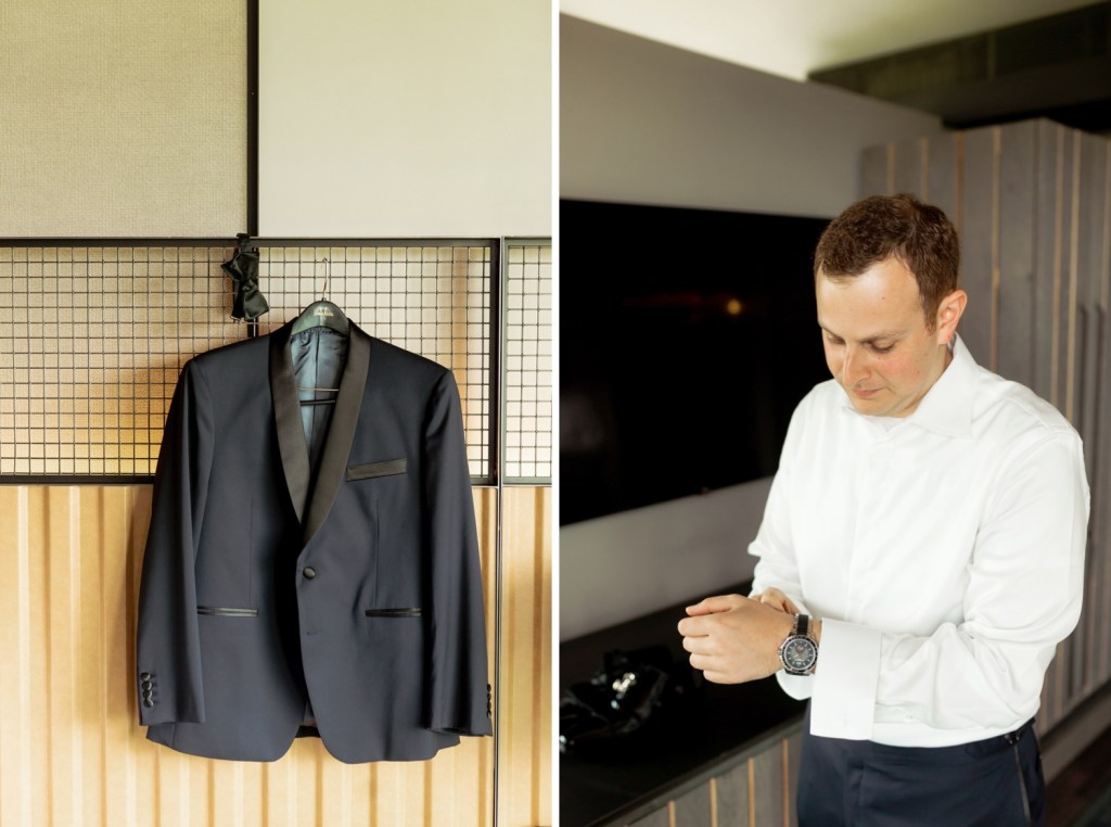 A groom's suit and a portrait of the groom getting ready for his wedding ceremony at Liberty Warehouse in Brooklyn, New York.