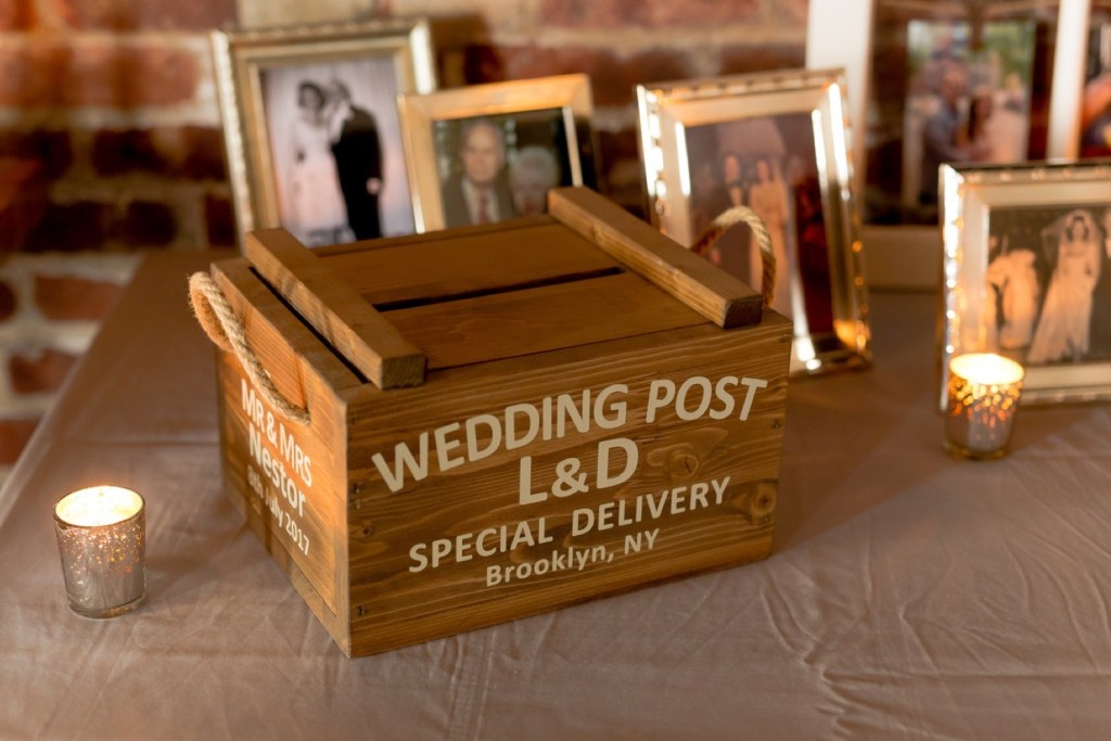 A reception setting at Liberty Warehouse, Brooklyn New York.