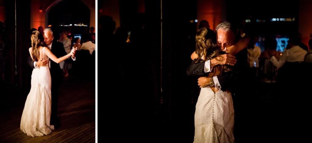 A bride dancing with her father during a wedding reception at Liberty Warehouse, Brooklyn New York.