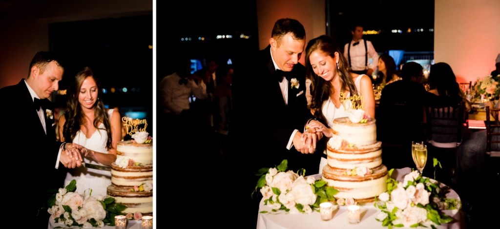 A newly wedded couple cutting their wedding cake during a wedding reception at Liberty Warehouse, Brooklyn New York.