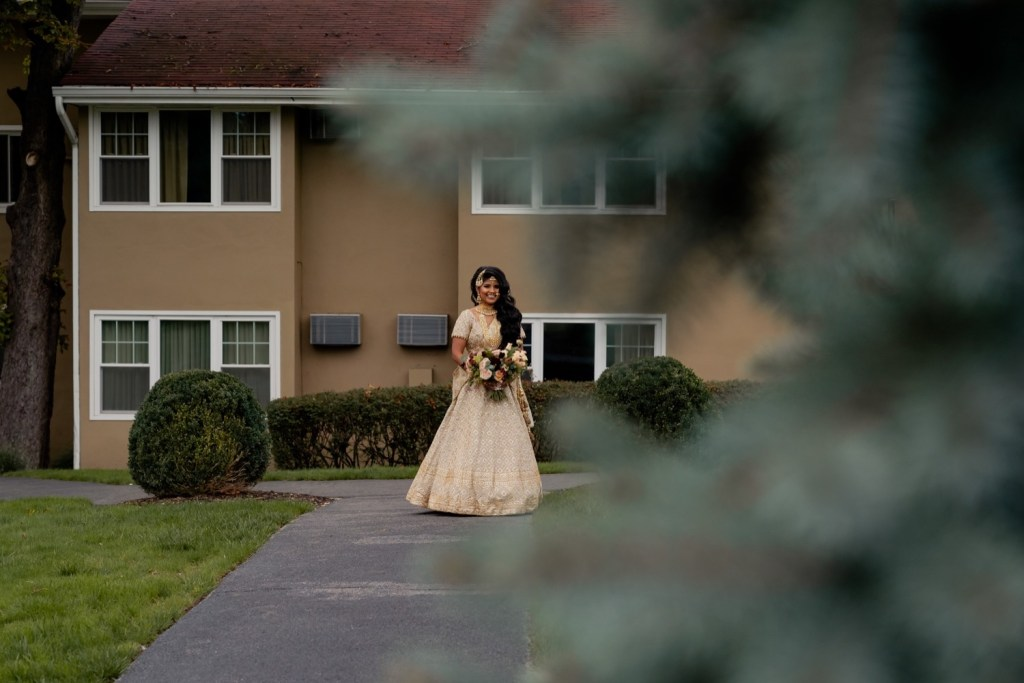 A portrait of a bride during a first look on a wedding day at the Tappan Hill Mansion.