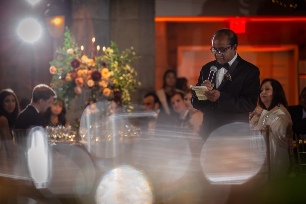 A wedding speech by a brides' father during a wedding reception at the Tappan Hill Mansion.