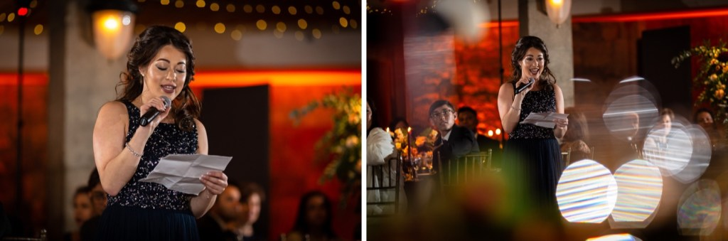 A maid of honor giving a speech to a newly wedded, happy couple during a wedding reception at the Tappan Hill Mansion.