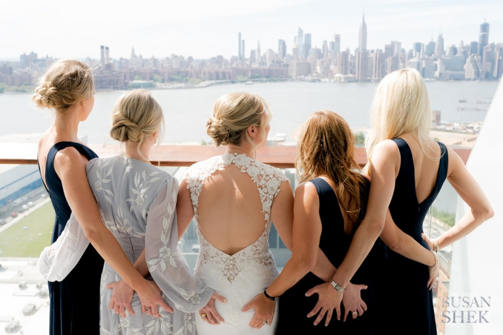 Bridemaids looking at the view