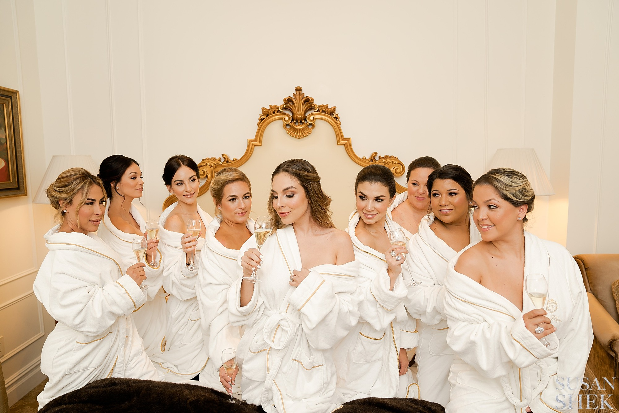 Bride and her bridesmaids at the Plaza Hotel Suite during Getting Ready