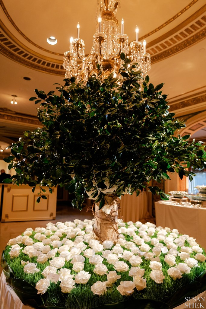Escort Card Centerpiece by Ariston Flowers at The Plaza Hotel
