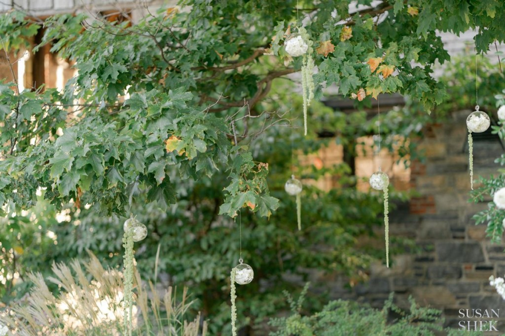 floral decor at blue hill stone barns wedding ceremony