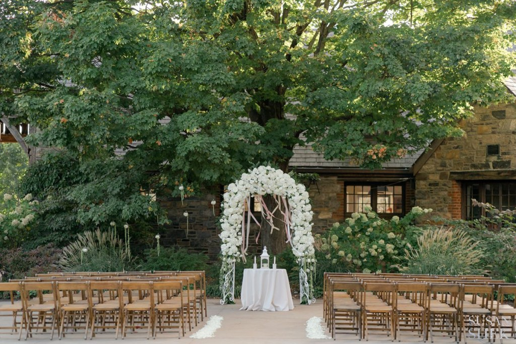 close up of the wedding ceremony details at blue hill stone barns