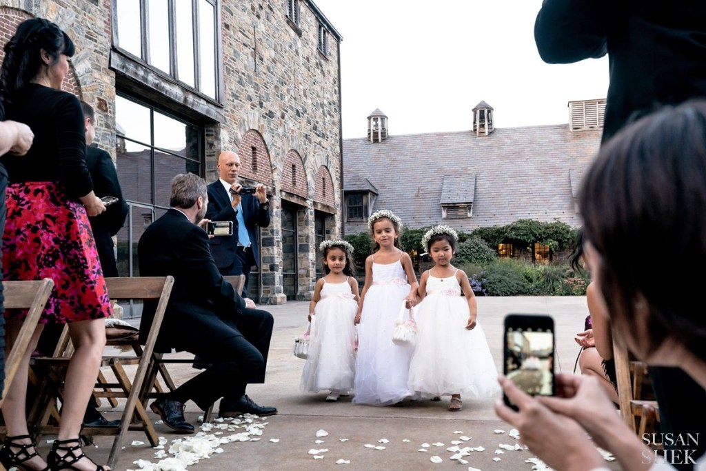 flower girls walking blue hill stone barns